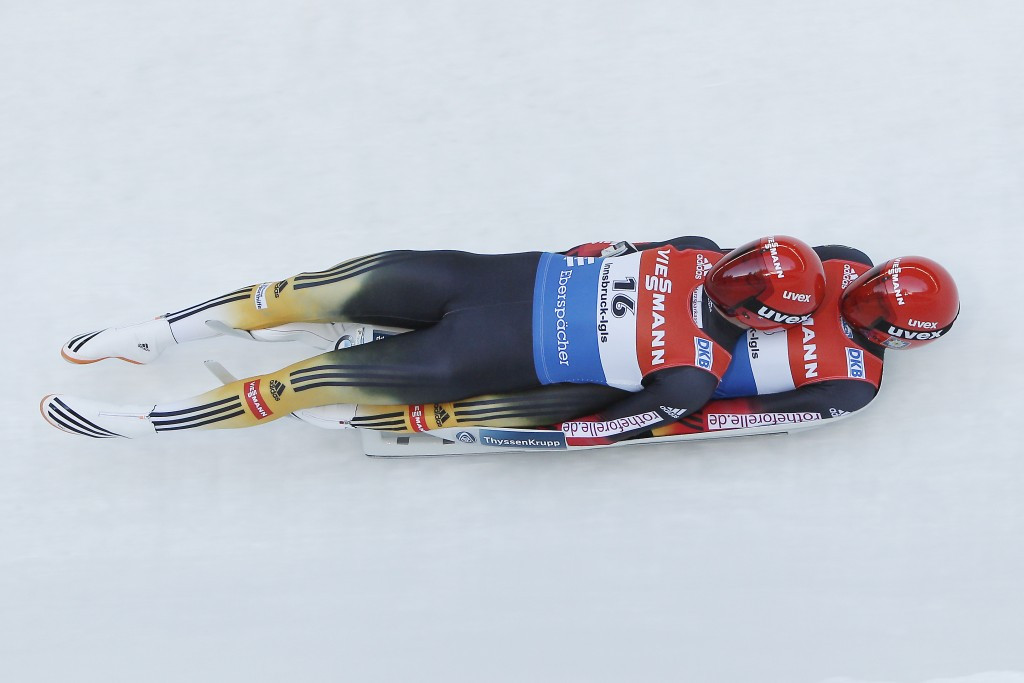 Germany's Toni Eggert and Sascha Benecken have clinched their third Luge World Cup victory of the season ©Getty Images