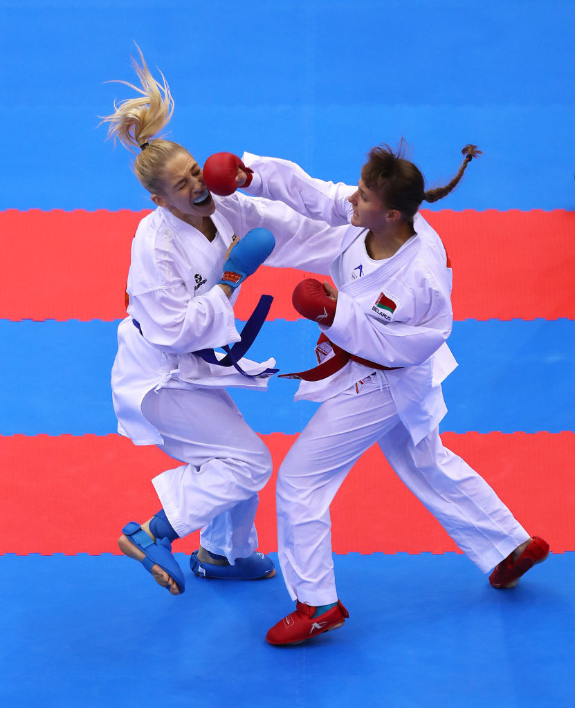 Shara Hubrich, left, is among the athletes who could benefit from the new Tokyo 2020 qualification system for karate ©Getty Images