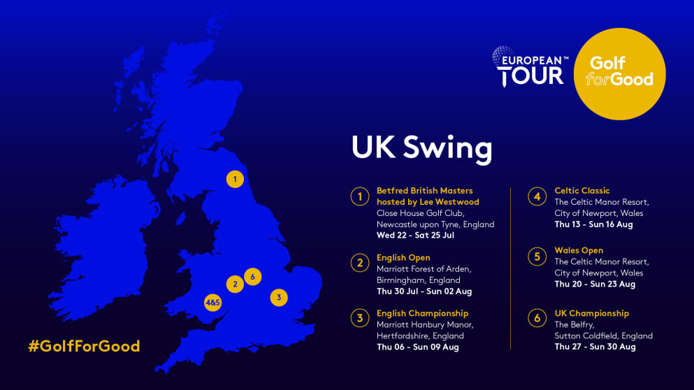 The UK Swing will consist of six tournaments across England and Wales ©European Tour
