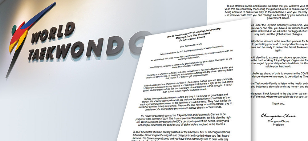 World Taekwondo President Chungwon Choue has written a message to the taekwondo family to celebrate the organisation's 47th anniversary ©World Taekwondo