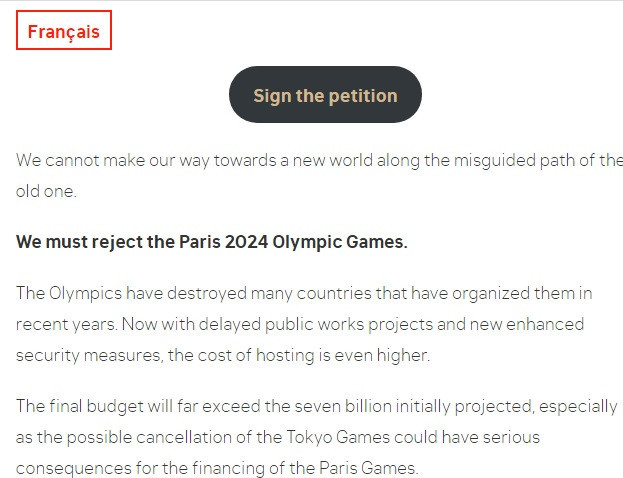 The petition says money should be spent on helping to address the impact of the coronavirus crisis instead of the Olympic Games ©NON aux JO2024 à Paris
