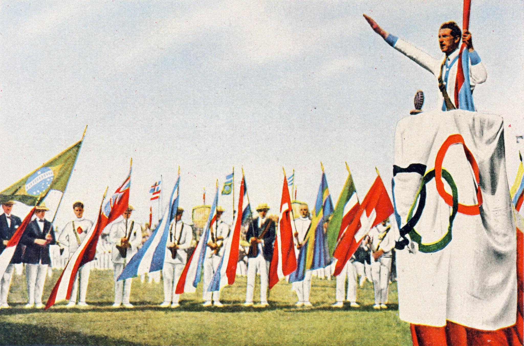 The Olympic Oath is taken in 1924 ©Reetsma Cigatetten Fabriken