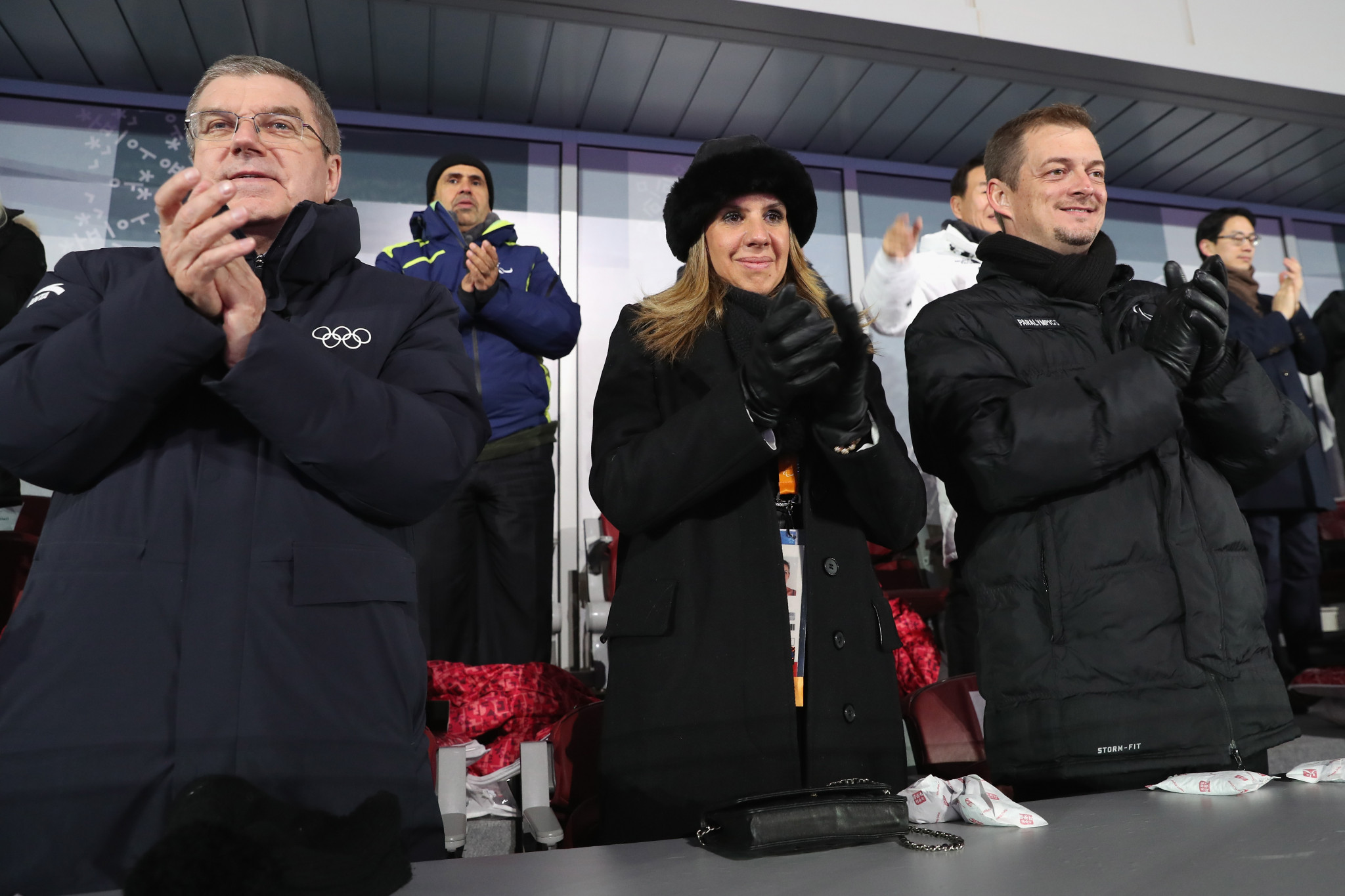 IOC President Thomas Bach pictured with Marcela and Andrew Parsons ©Getty Images