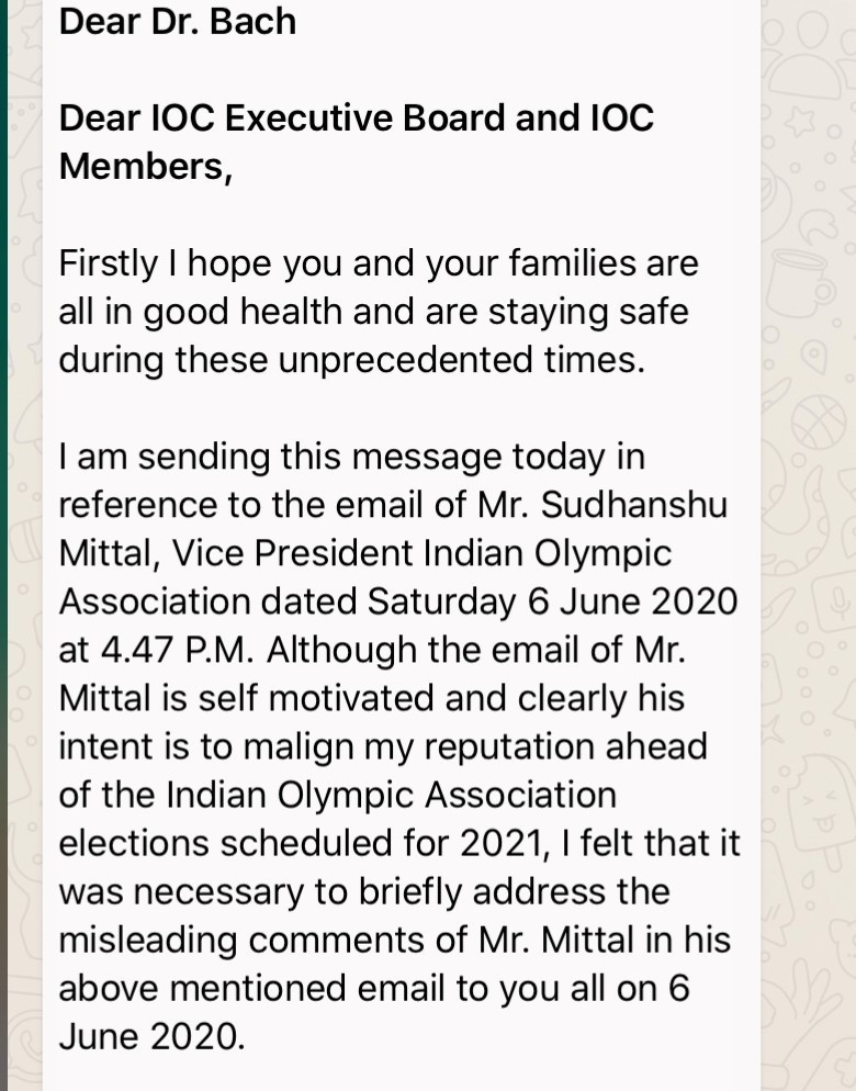 Narinder Batra sent a WhatsApp message to the IOC President and the Executive Board ©ITG