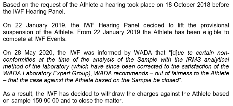 An extract of the letter sent to Sanjita Chanu Khumukcham, clearing the Indian athlete of a doping charge