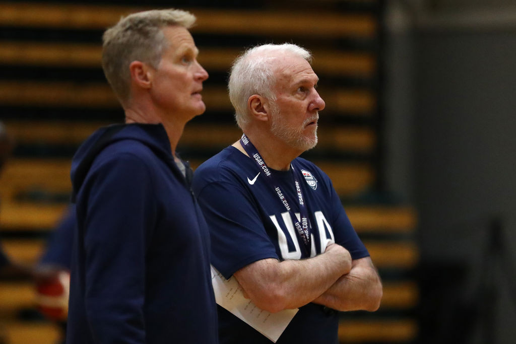 Steve Kerr said he has daily conversations with Gregg Popovich, right ©Getty Images
