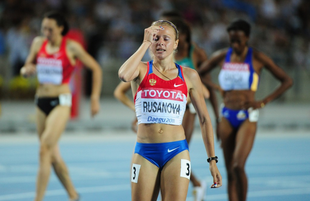 Yulia Stepanova (nee Rusanova), pictured competing in the semi-final of the 2011 World Championships in Daegu, was banned for doping before she came forward ©Getty Images