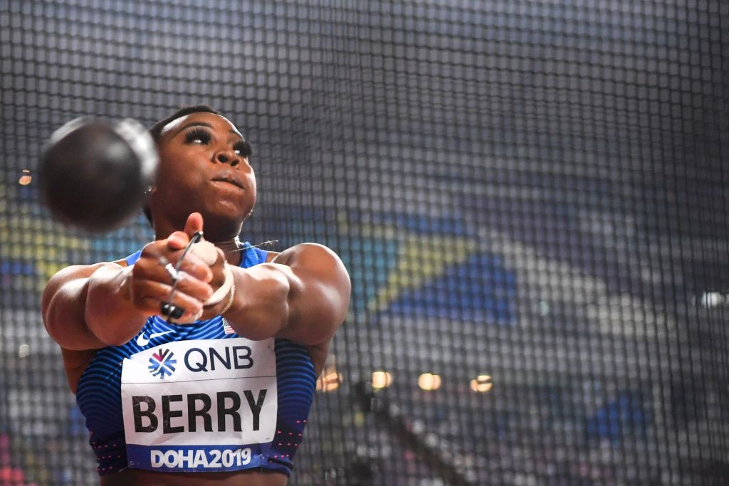 Gwen Berry protested on the podium during the 2019 Pan American Games in Lima ©Getty Images