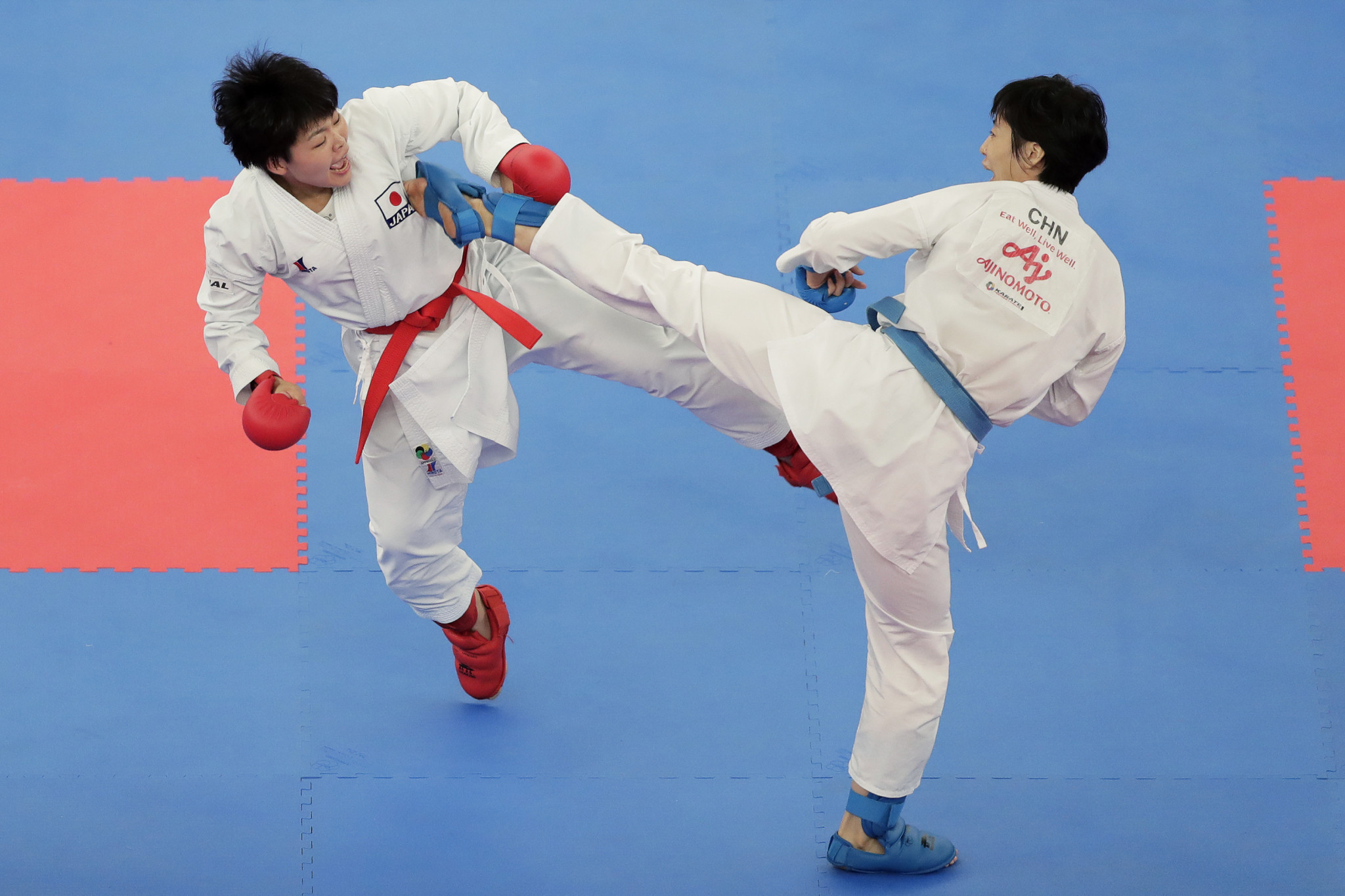 Yin Xiaoyan, right, is a world silver medallist and one of China's best karate hopes for Tokyo 2020 ©Getty Images