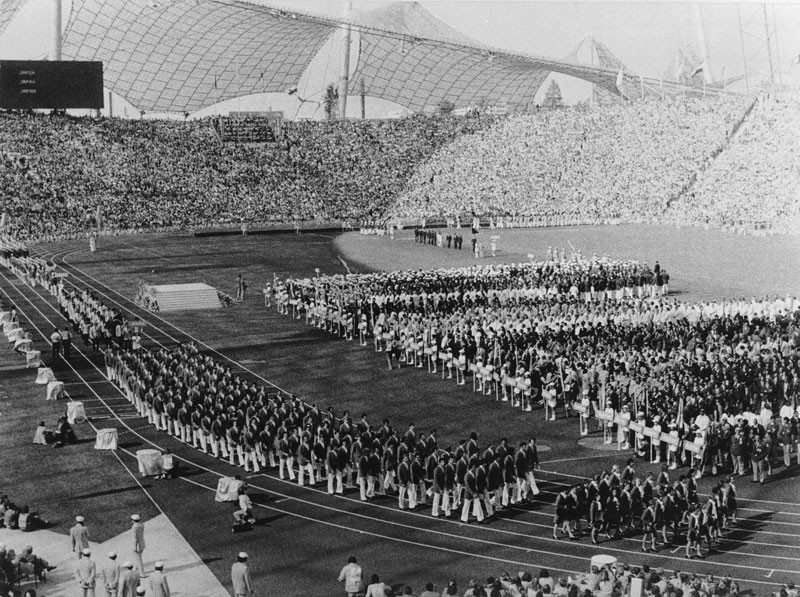 The opening ceremony at the West German Olympics in Munich. © Keystone/Getty Images.