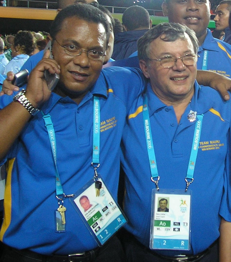 Marcus Stephen, left, was elected President of Nauru in 2007, having been coached to Commonwealth glory by Paul Coffa, right ©Paul Coffa