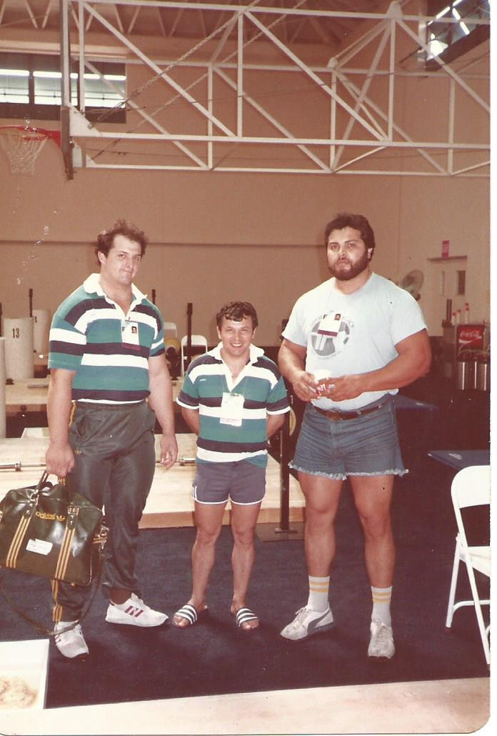 Dean Lukin, left, a 1984 Olympic gold medallist, with Paul Coffa, centre, and American Mario Martinez ©Paul Coffa