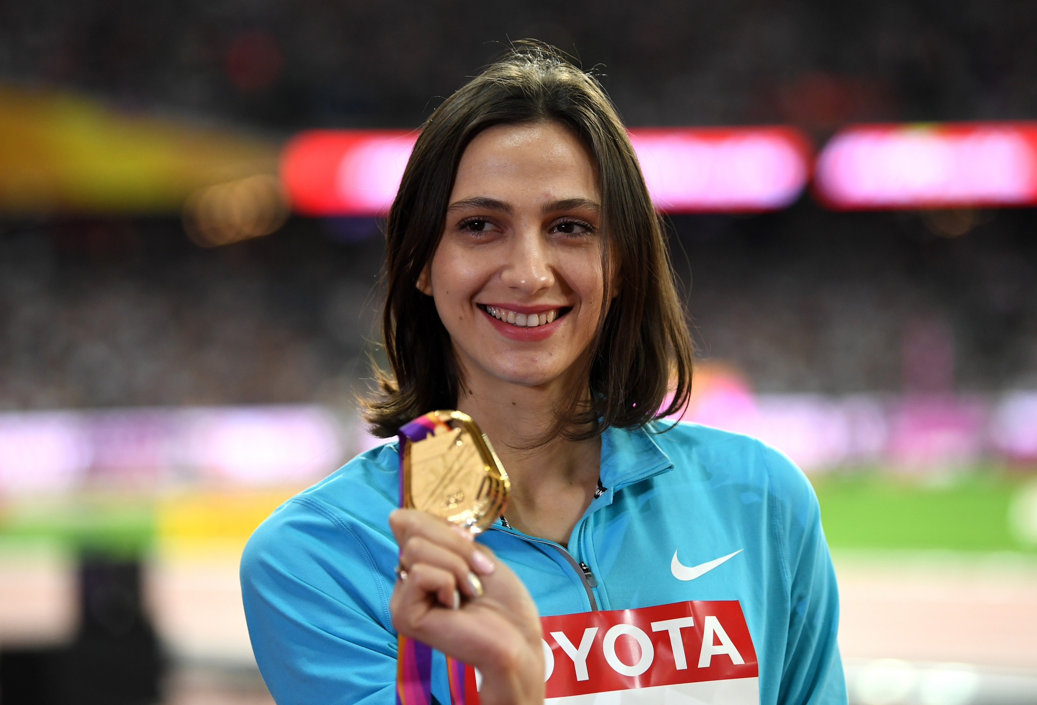 Mariya Lasitskene has won two of her three World Athletics Championships gold medals as a neutral athlete ©Getty Images