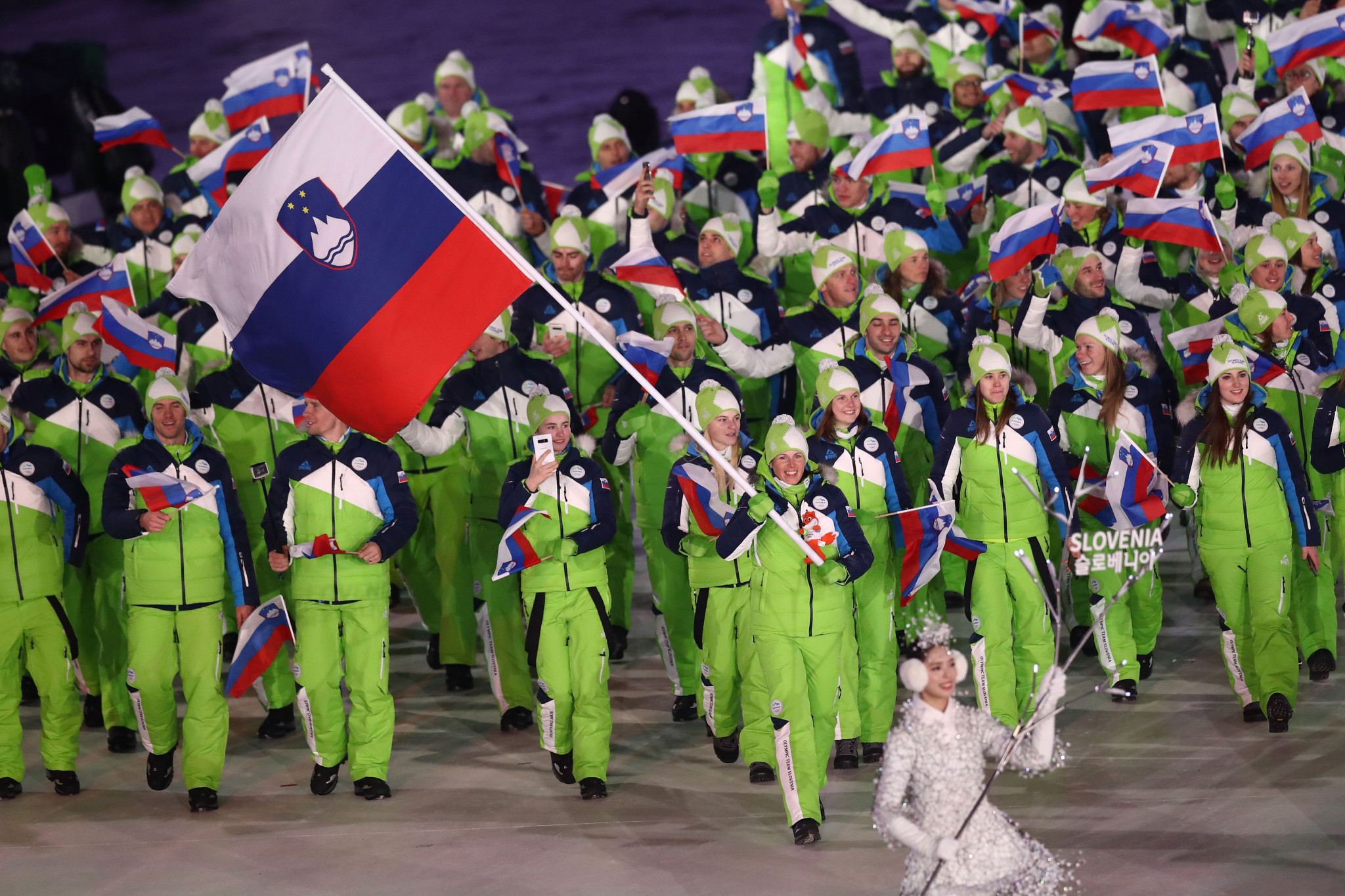 Vesna Fabjan was her country's flagbearer at the Pyeongchang 2018 Winter Olympics ©Getty Images
