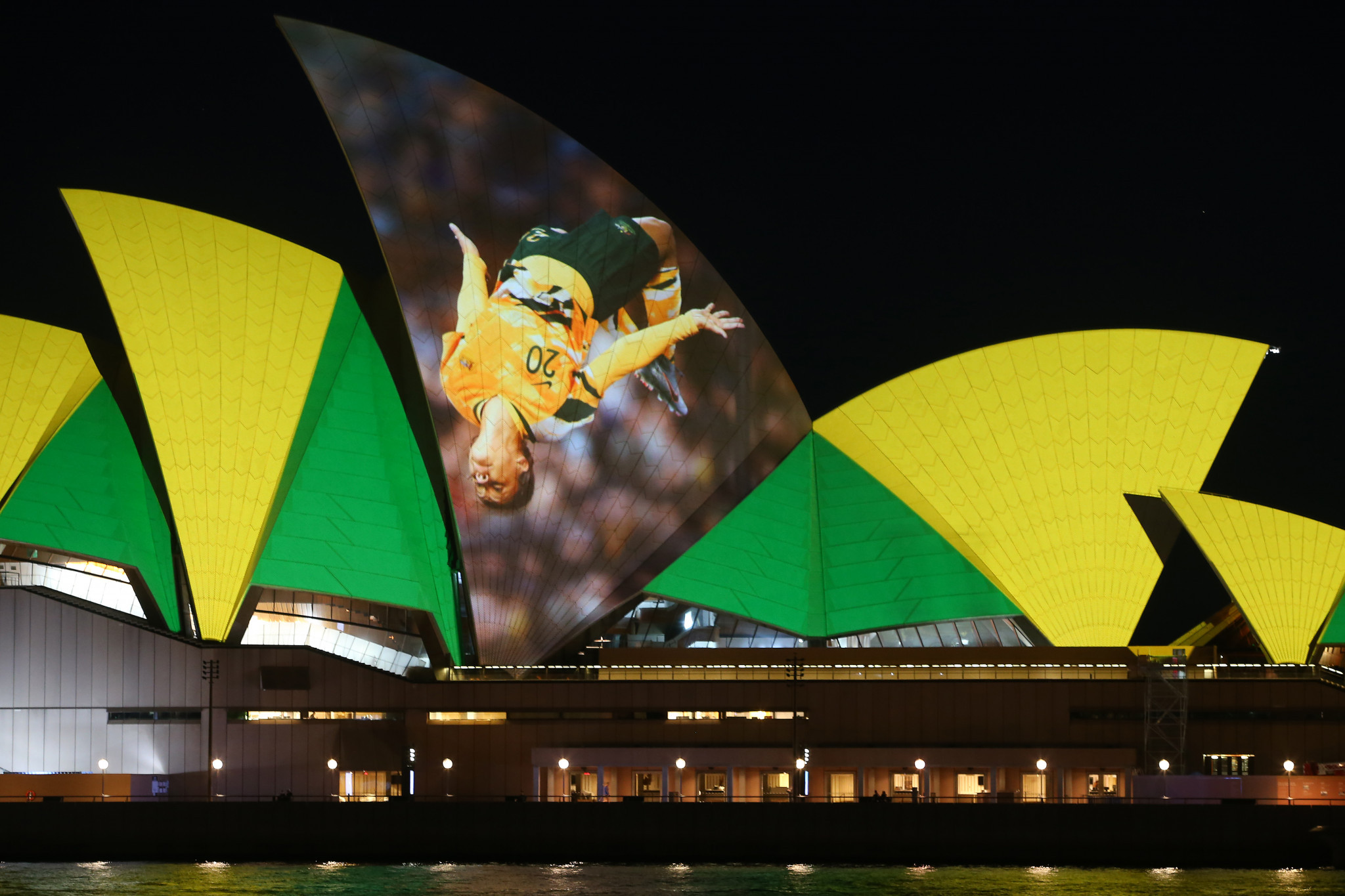 Landmarks were lit up in Australia and New Zealand to celebrate the joint bid for the 2023 Women's World Cup ©Getty Images