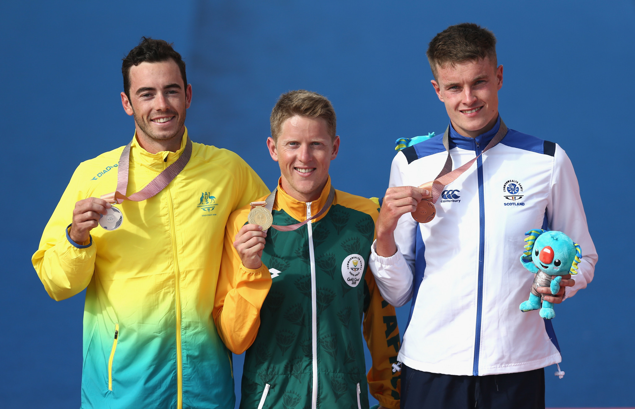 Marc Austin, right, won Scotland's first triathlon medal at the 2018 Commonwealth Games ©Getty Images