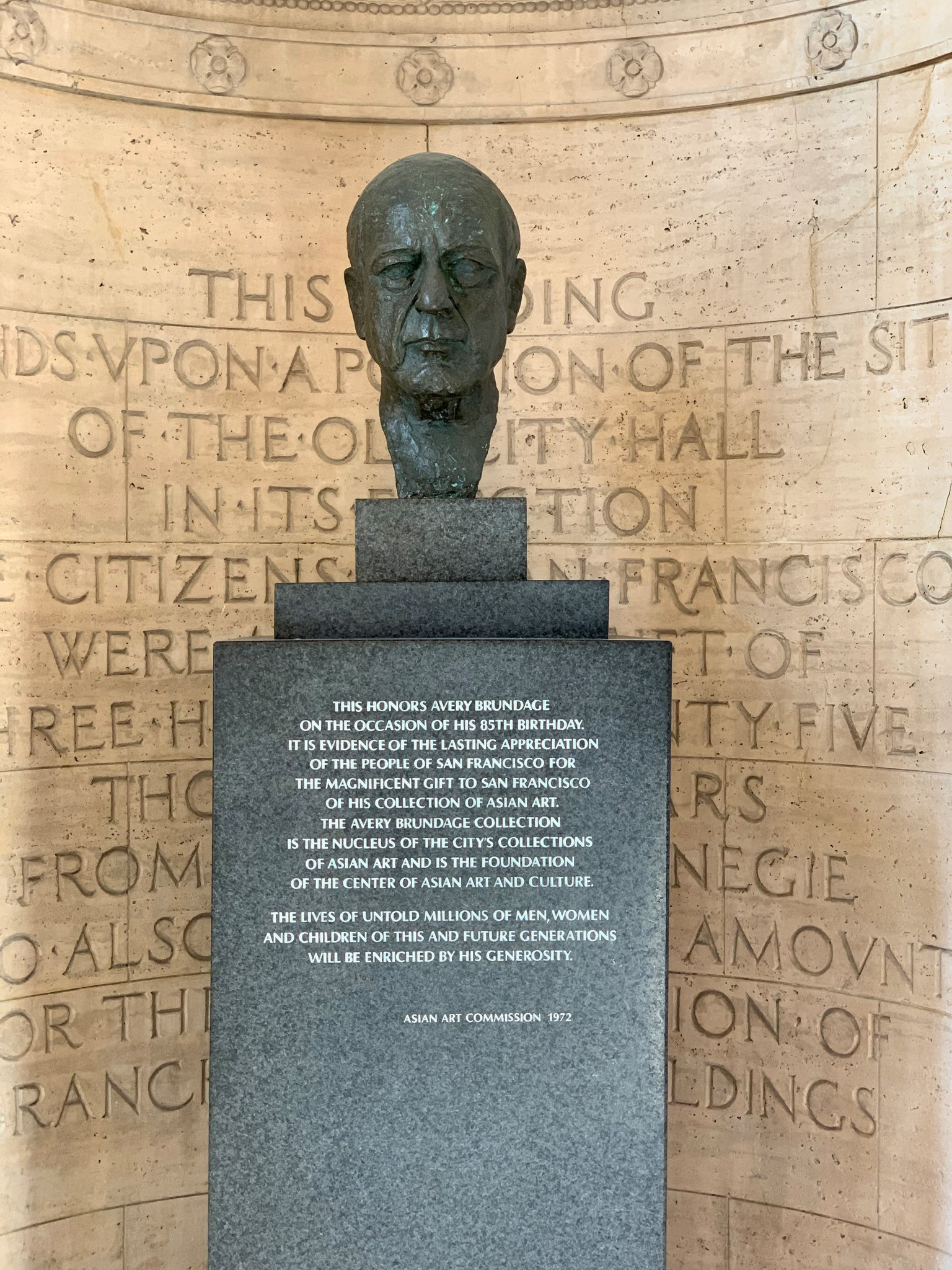 The Asian Art Museum has removed the bust of its main benefactor, former IOC President Avery Brundage, from its foyer ©Asian Art Museum