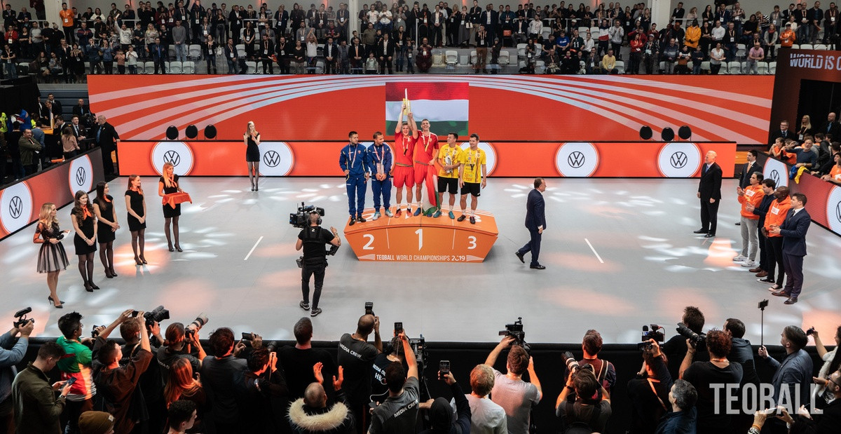 Hungary won two of the three events at the 2019 Teqball World Championships ©FITEQ