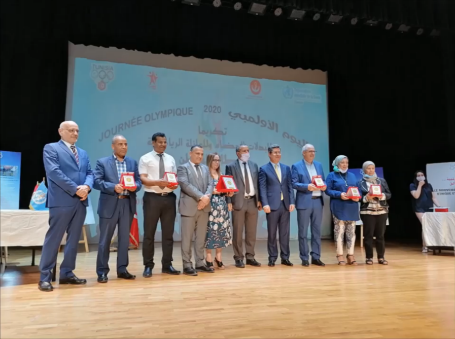 The Tunisian National Olympic Committee recognised the efforts of athletes and medical workers during its Olympic Day celebrations ©CNOT