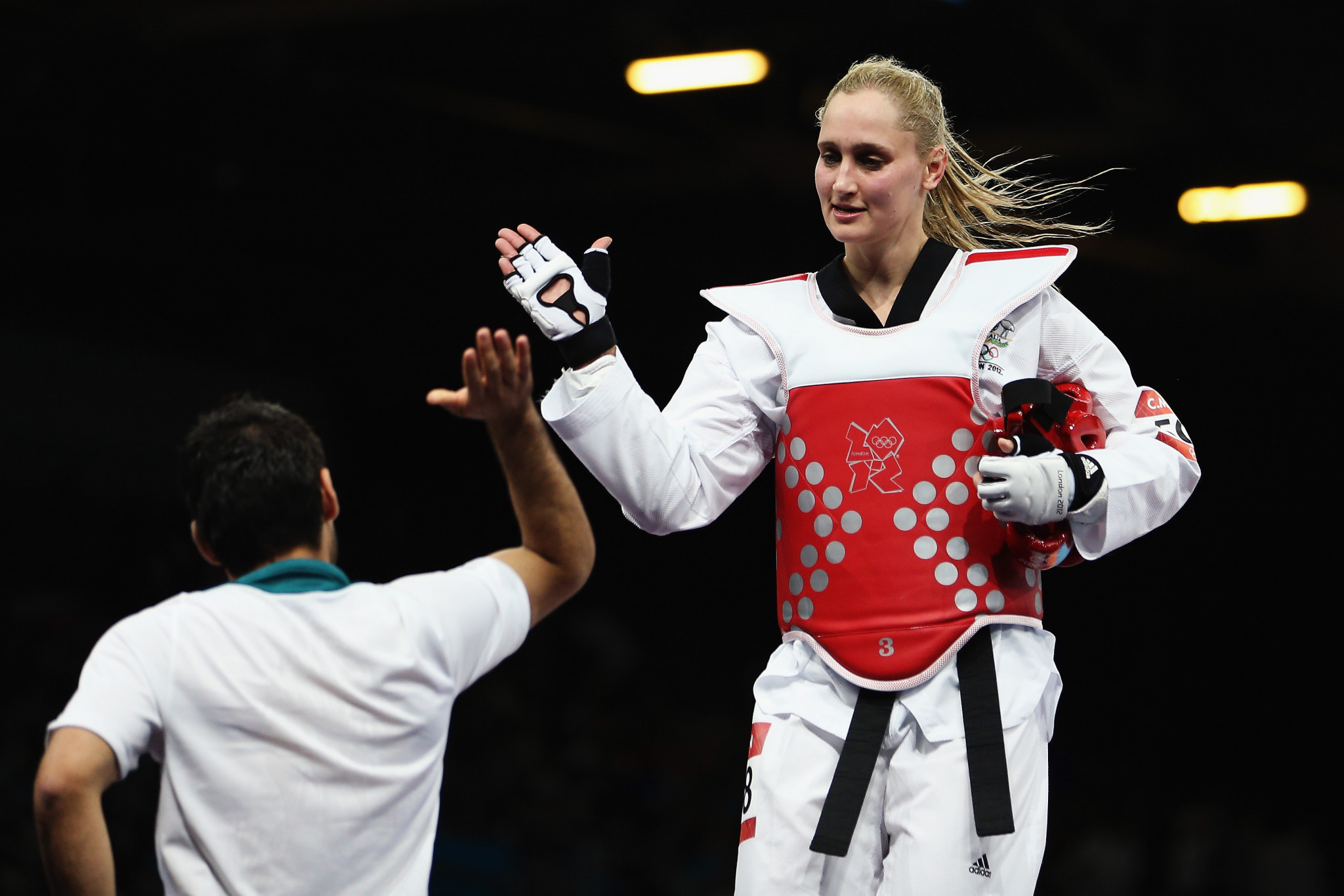 Olympian Carmen Marton joined Lewis on his interactive taekwondo session ©Getty Images