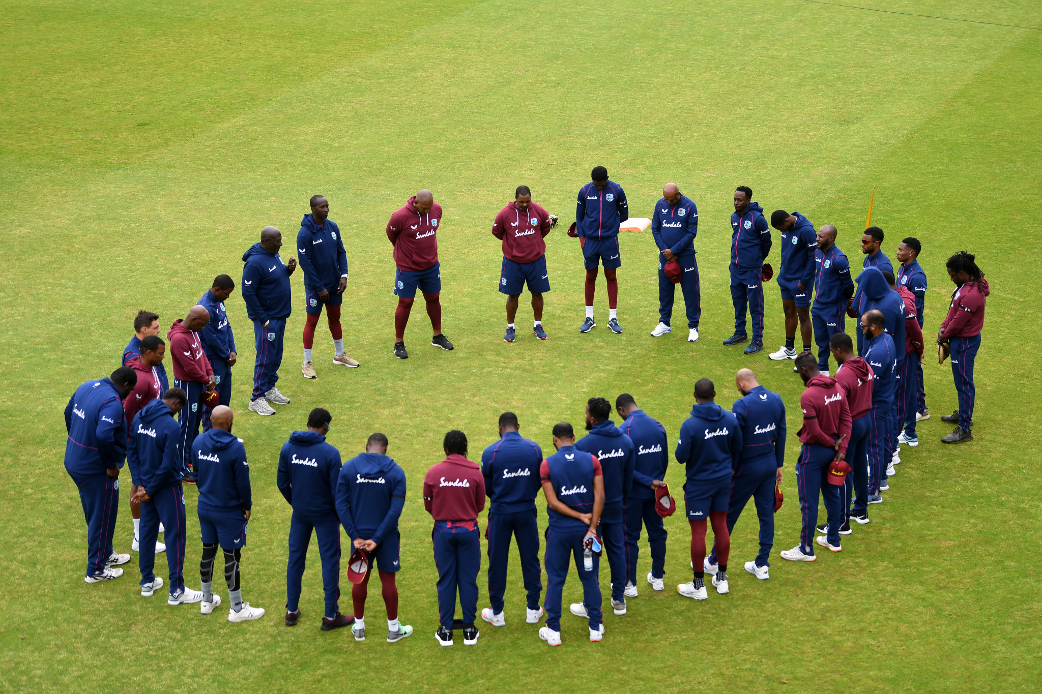 West Indies players and staff held a moment of silence before a warm-up match in honour of Sir Everton Weekes ©Getty Images