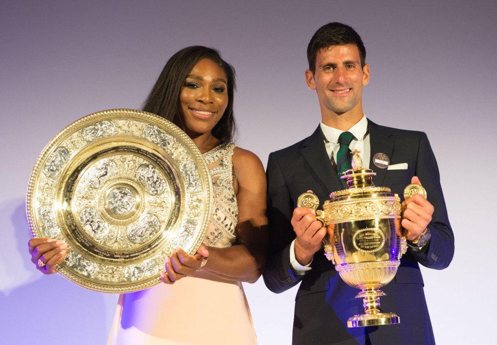 Serena Williams and Novak Djokovic, pictured here with their Wimbledon titles, have been named the ITF World Champions for 2015 ©Getty Images