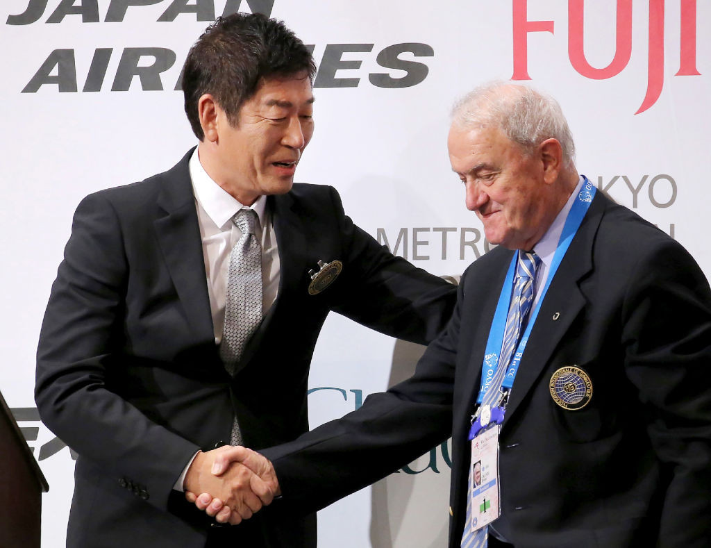 Morinari Watanabe, left, was elected FIG President in 2016 ©Getty Images