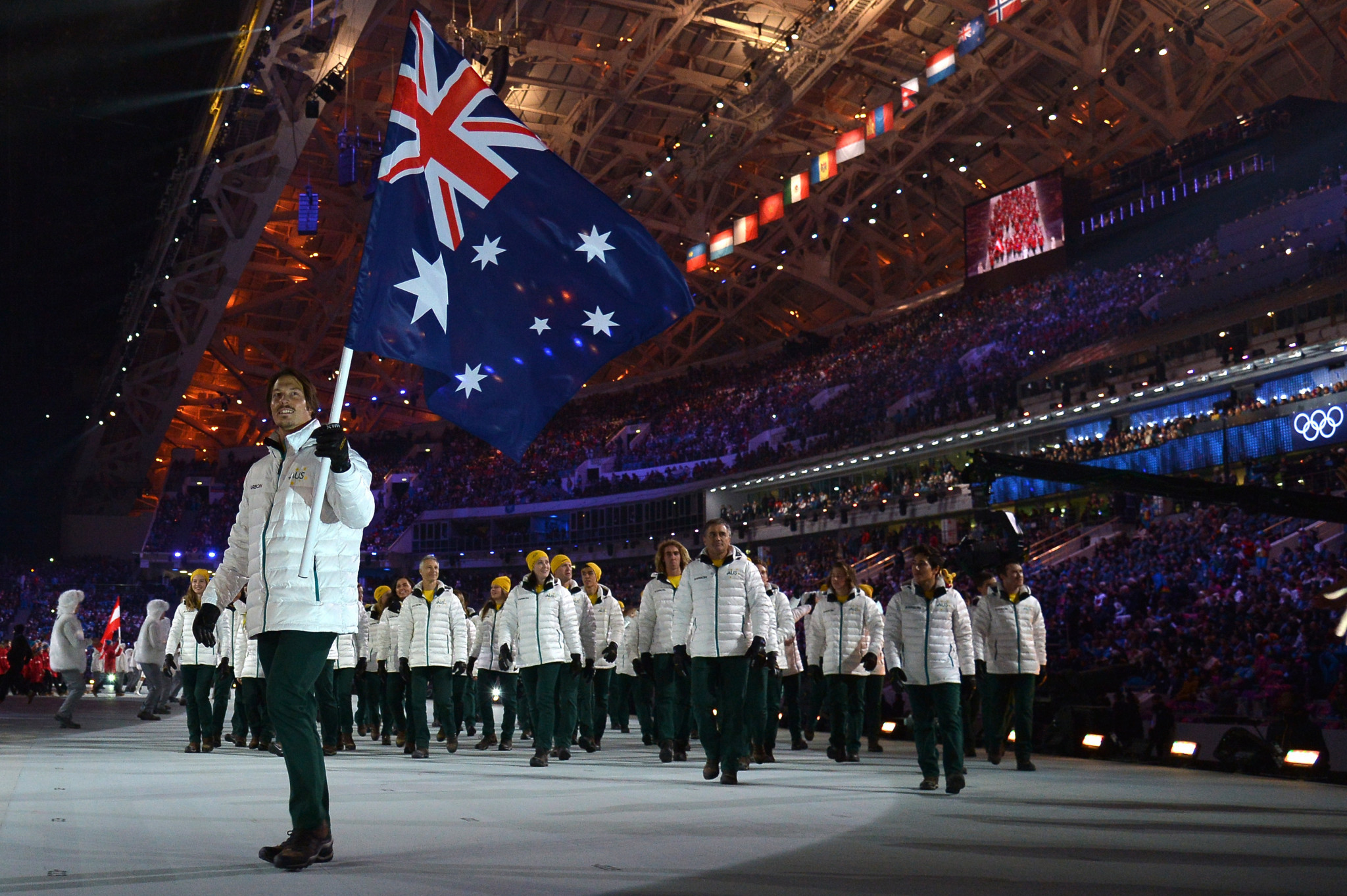 Alex Pullin was Australia's flagbearer at the Opening Ceremony for the Sochi 2014 Winter Olympic Games ©Getty Images