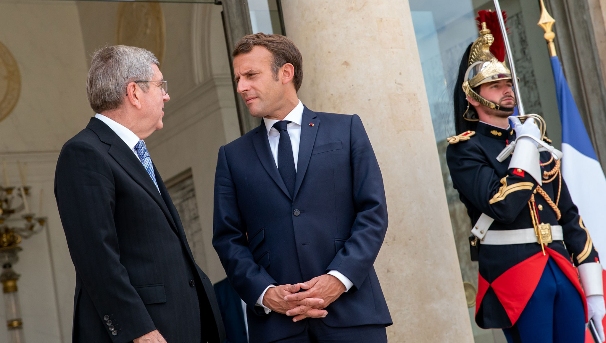 French President Emmanuel Macron welcomed Thomas Bach to the Élysée Palace ©President of France
