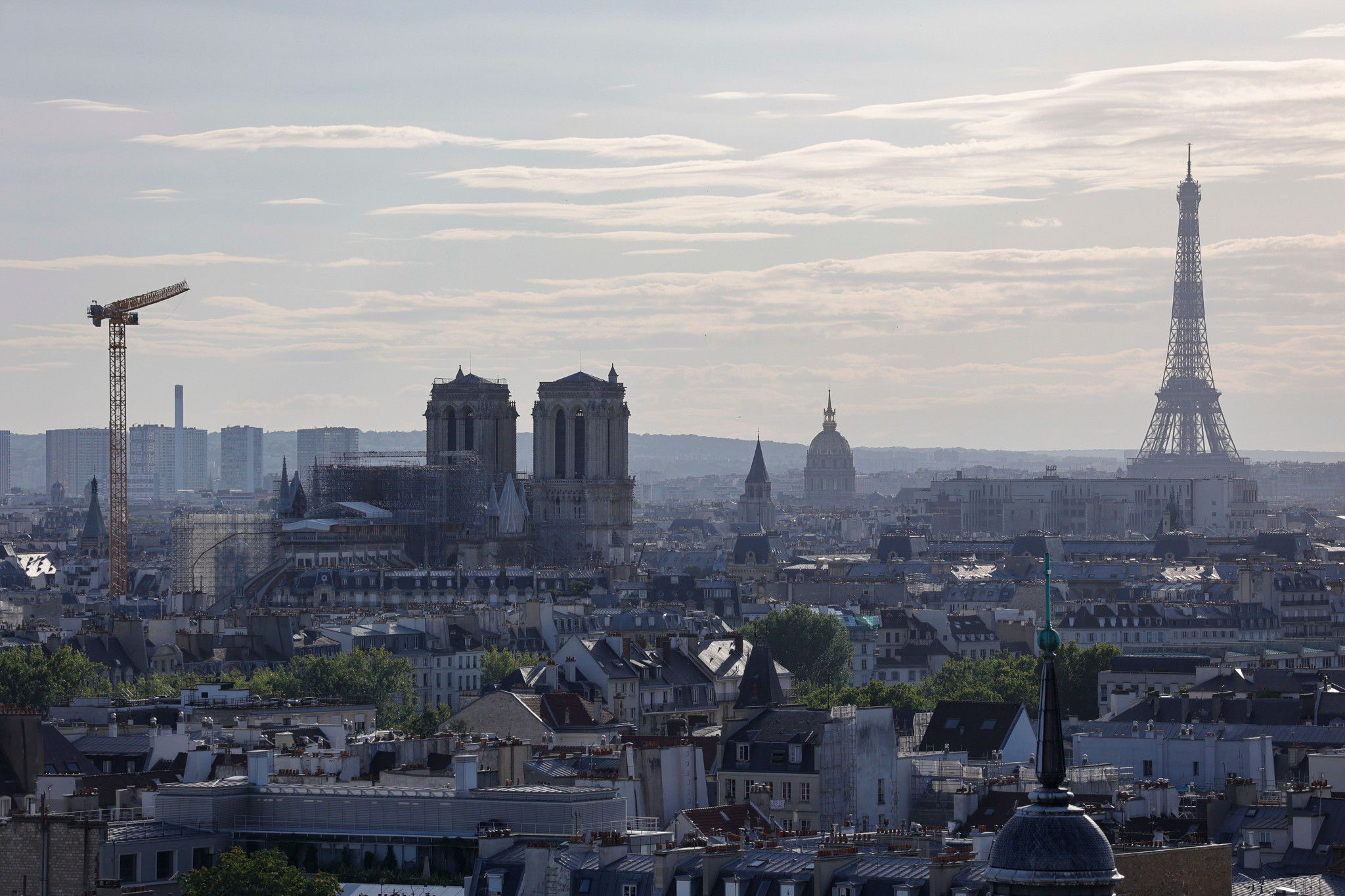 French President Emmanuel Macron hopes to restore Notre-Dame to the Parisian skyline in time for the 2024 Olympic and Paralympic Games ©Getty Images