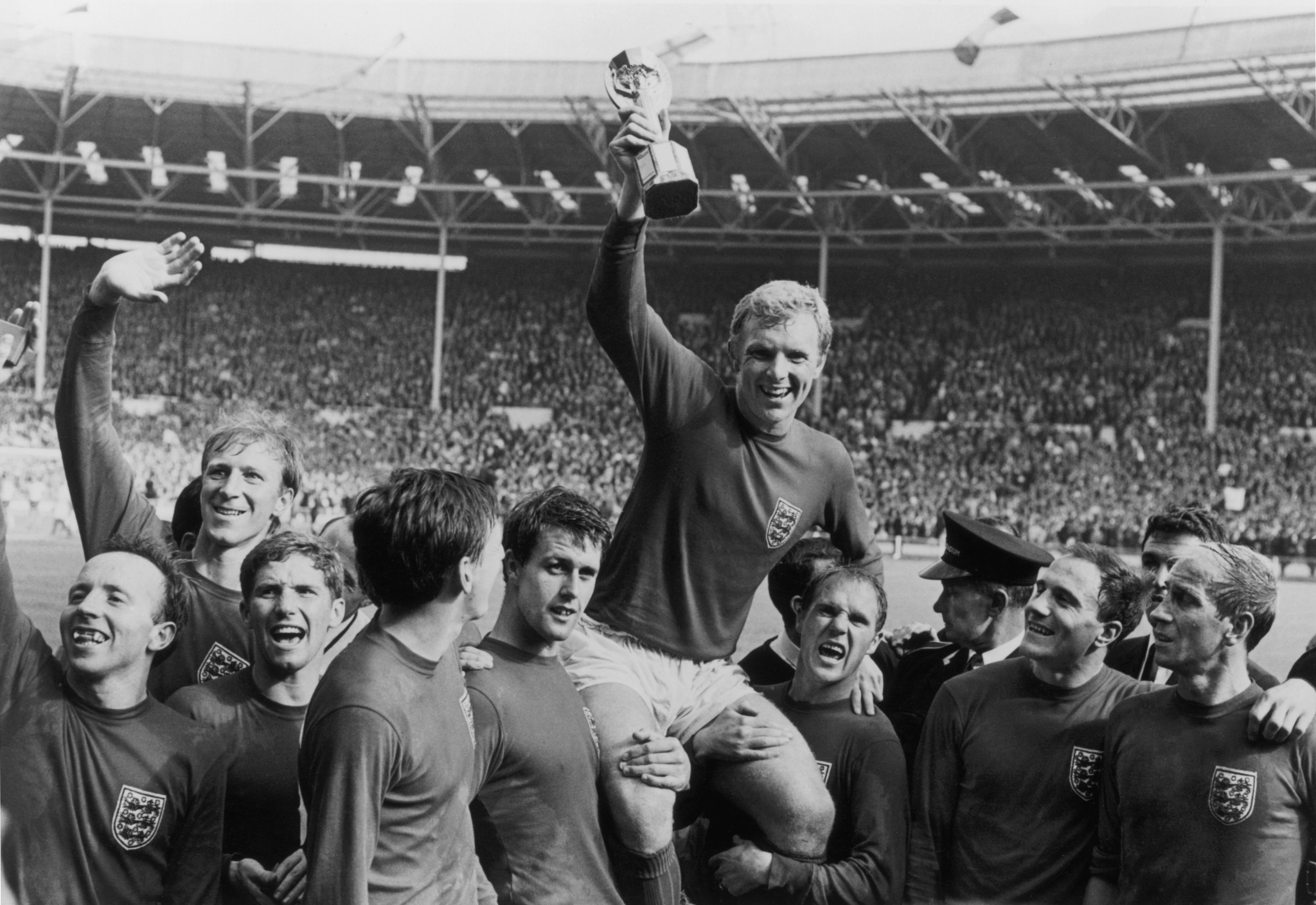 Jack Charlton, second left, played in every match of England's successful 1966 World Cup winning campaign ©Getty Images