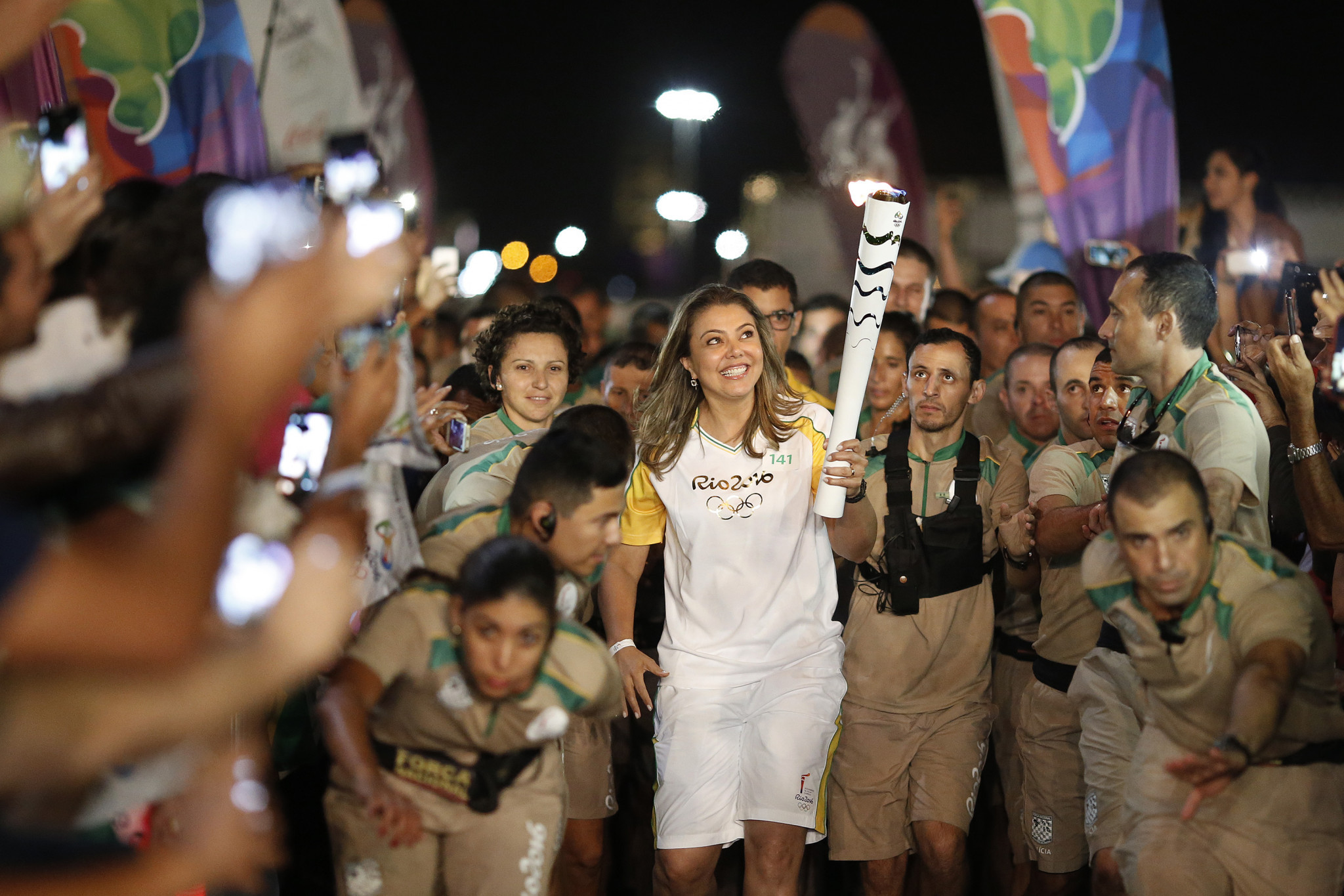 Leila Barros took part in the Olympic Torch Relay for Rio 2016 ©Getty Images