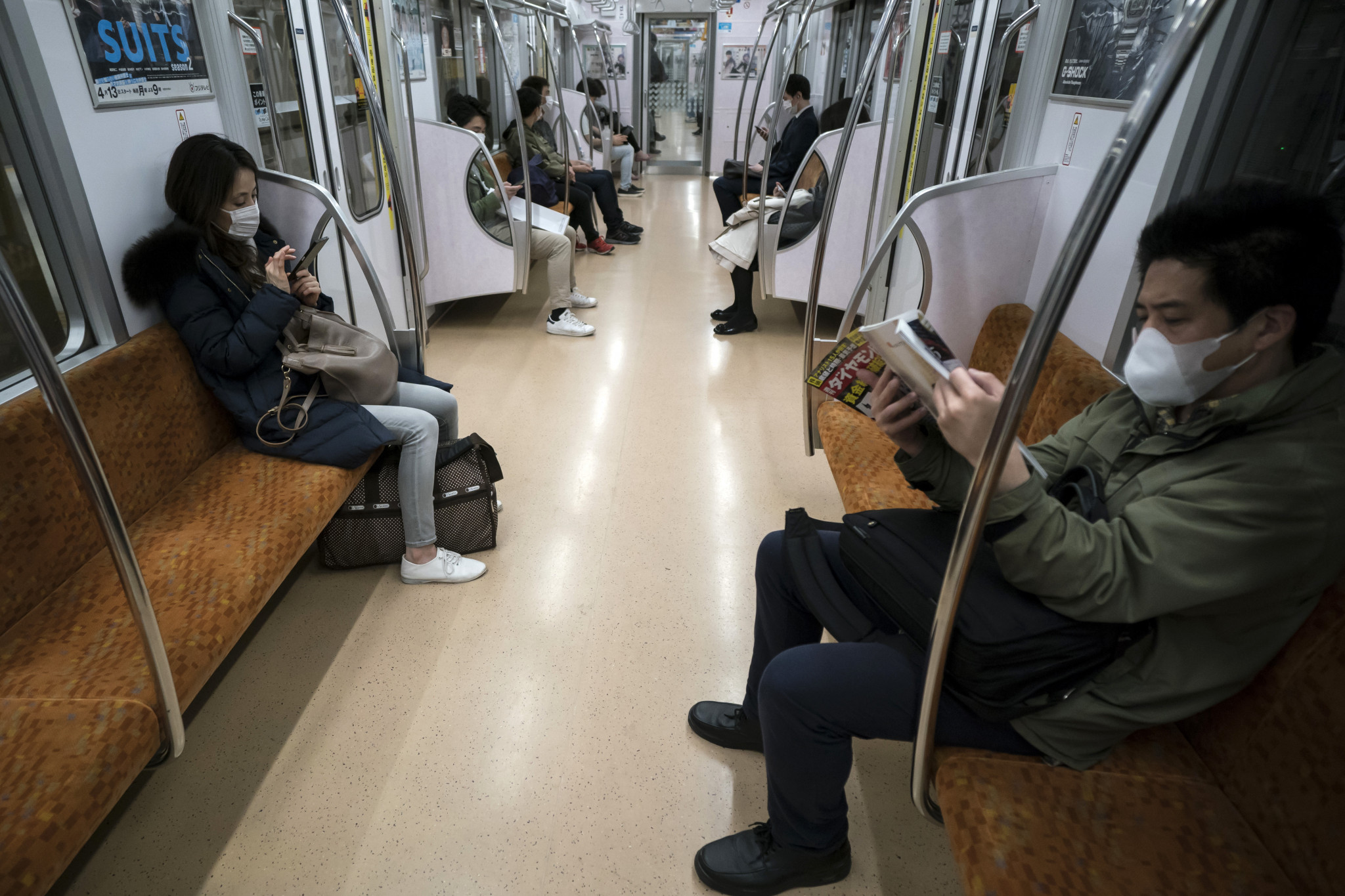 The coronavirus crisis has seen passenger numbers thin out on Tokyo's public transport ©Getty Images