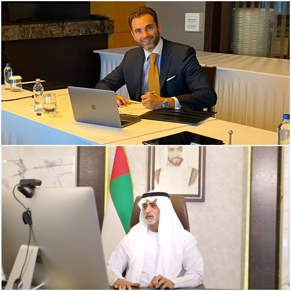 IESF President  Vlad Marinescu, in Budapest, and UAE Minister for Tolerance and Coexistence Sheikh Nahayan Mabarak Al Nahyan, in Abu Dhabi, signed the Memorandum of Understanding today a virtual ceremony ©IESF