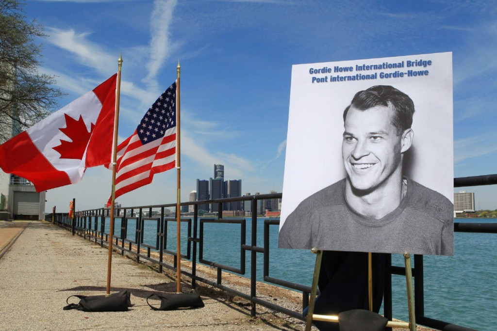 The bridge linking Highway 401 in Ontario with Interstate 75 and 94 in Michigan has been named the Gordie Howe International Bridge in honour of the legendary ice hockey player  ©Getty Images