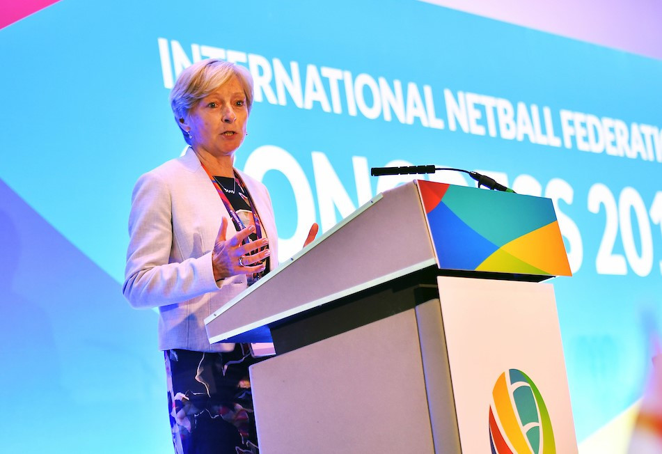INF President Liz Nicholl welcomed feedback from members on the body's new strategic plan ©INF