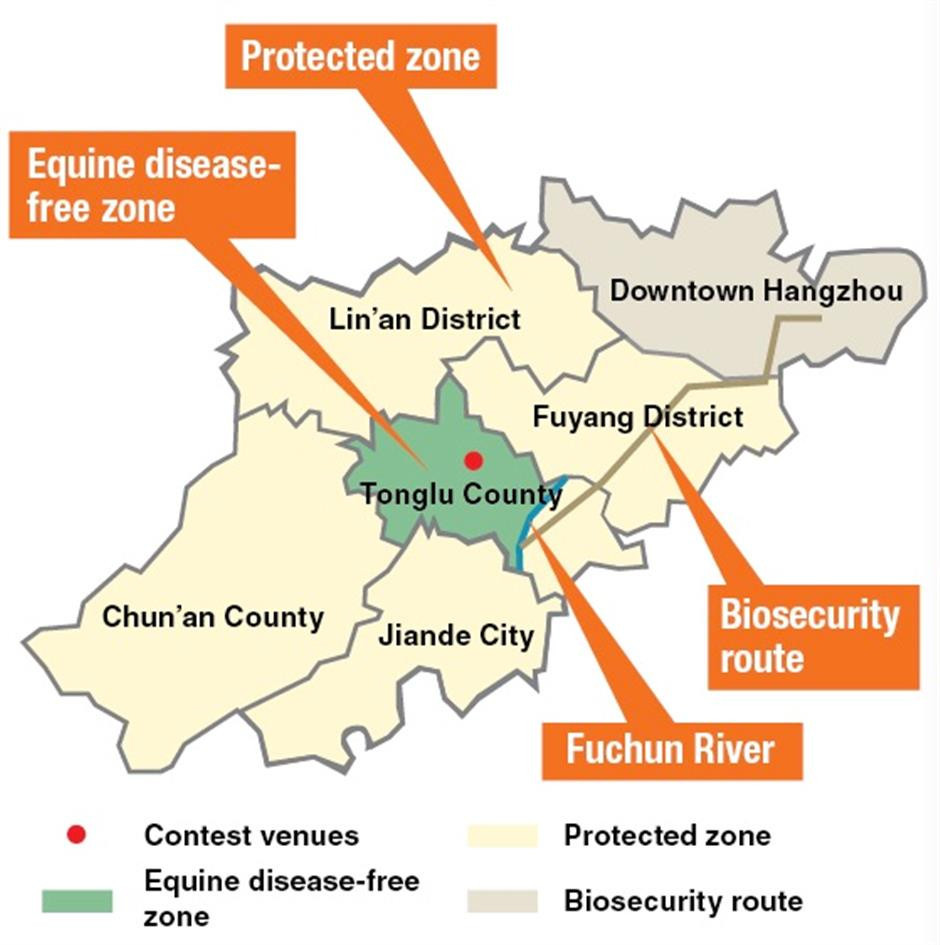The expected route of the equine disease-free zone and the location of the zone ©Hangzhou 2022