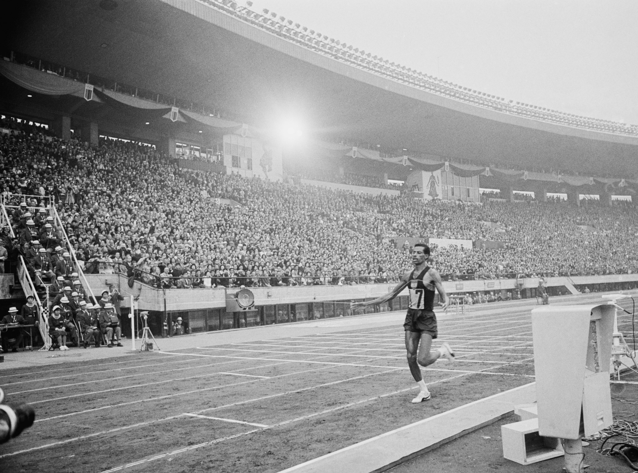 Ethiopia's Abebe Bikila was among the flag-bearers at the Tokyo 1964 Opening Ceremony ©Getty Images
