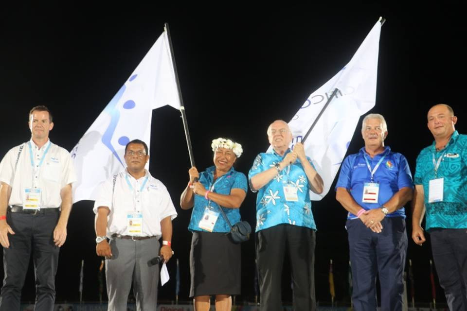 The Northern Mariana Islands were handed the official flag for the 2021 edition of the Pacific Mini Games at the close of the Pacific Games in Samoa last year ©PGC