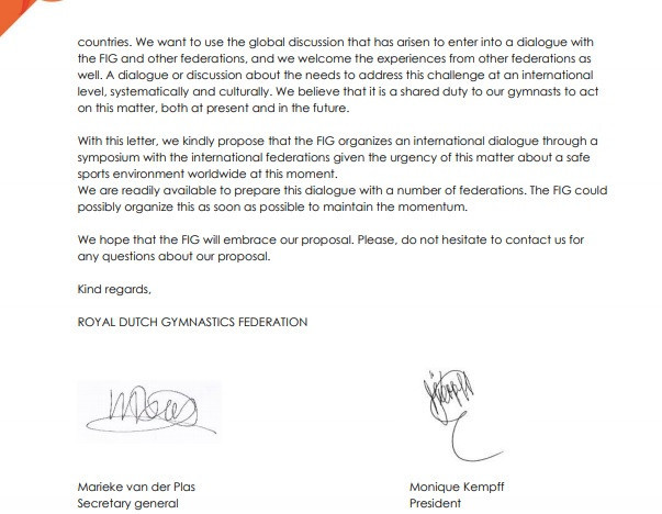 The Royal Dutch Gymnastics Federation has written an open letter to the FIG ©KNGU