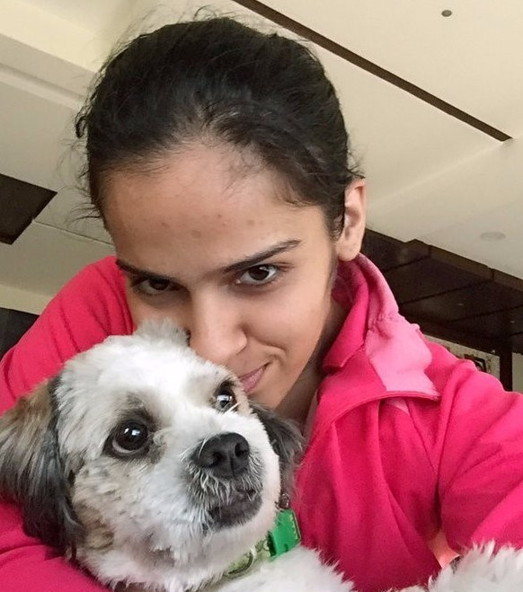 Saina Nehwal and her dog, Chopsy, are a popular combination on Twitter ©Saina Nehwal