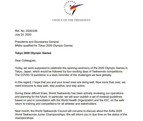 World Taekwondo President Chungwon Choue has written to MNAs who have qualified athletes for Tokyo 2020 ©World Taekwondo
