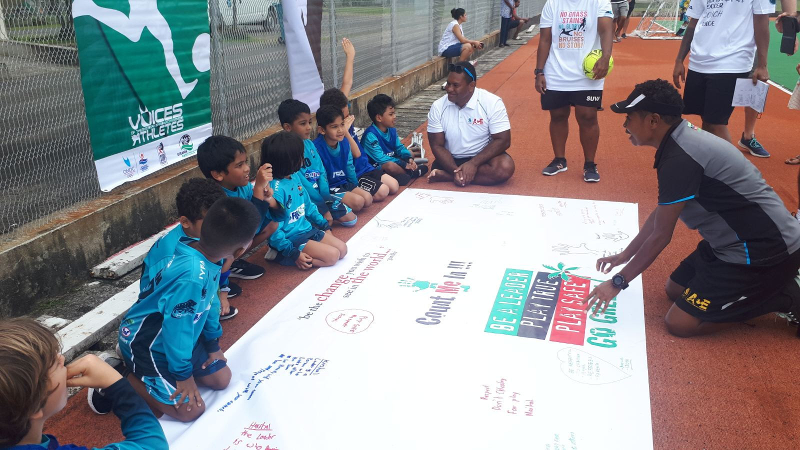 FASANOC VOA champions met with young footballers to teach them leadership and sportsmanship ©FASANOC