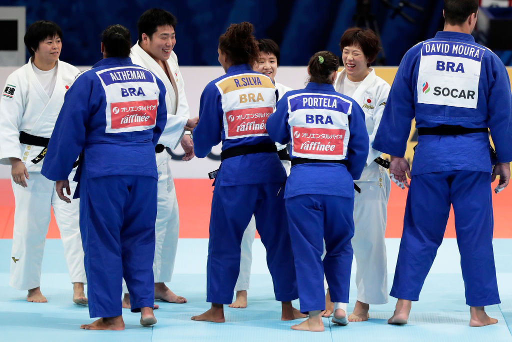 Brazil won bronze in the mixed team event at the 2019 World Judo Championships in Tokyo ©Getty Images