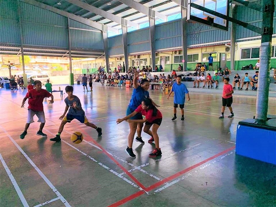 Sports including 3x3 basketball were played at the Belau Youth Sports Festival ©PNOC