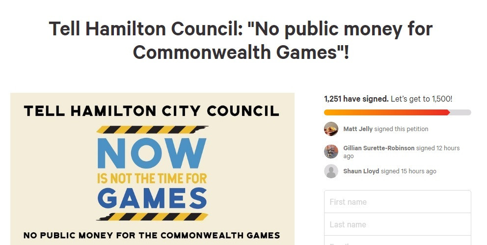 A petition opposed to Hamilton hosting the 2026 Commonwealth Games has been launched ©Change.org
