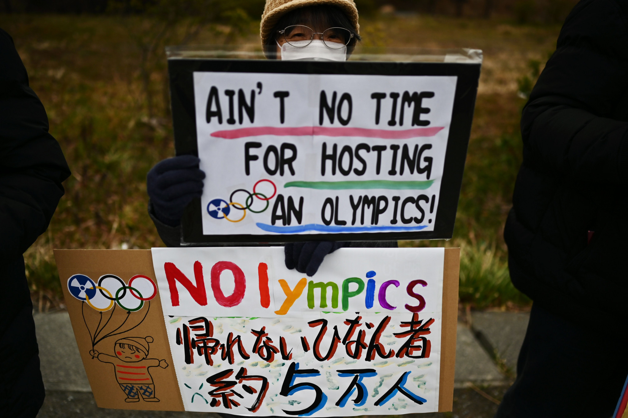 Anti-Olympic artists display protest pieces at Tokyo gallery near new stadium