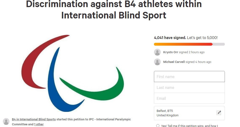 A petition has called on the IBSA and the IPC to review its blind sport classification rules ©Change.org