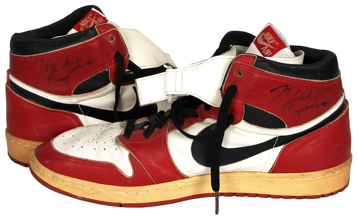 A pair of Michael Jordan 1985-1986 game worn and signed post-injury modified Air Jordan 1 sneakers sold for $379,757 at auction as interest in the double Olympic gold medallist continues to grow ©GottaHaveRockandRoll.com