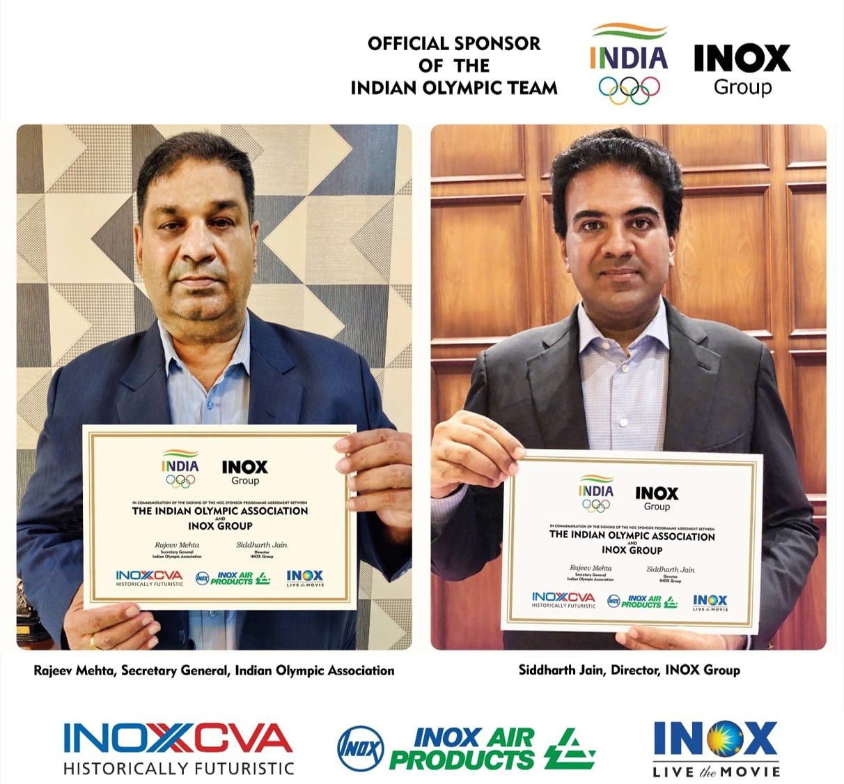 The Indian Olympic Association and INOX Group representatives show the agreement ©INOX